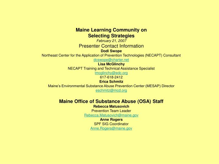 Maine Learning Community on