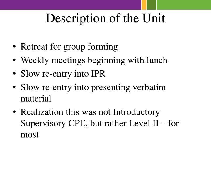 Description of the Unit