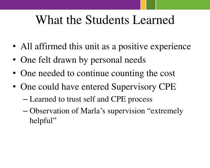 What the Students Learned