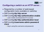 configuring a switch as an http server