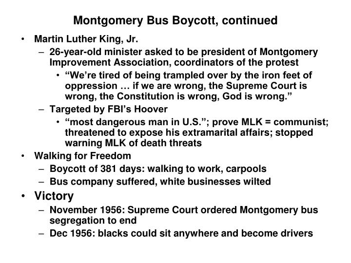Montgomery Bus Boycott, continued