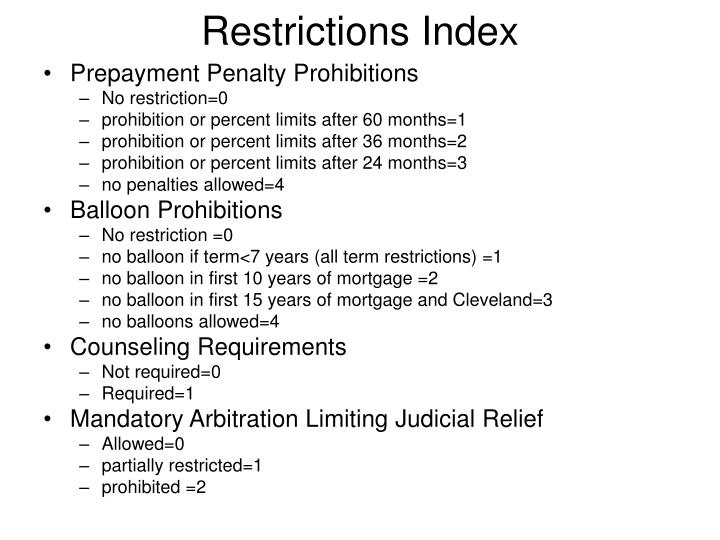 Restrictions Index
