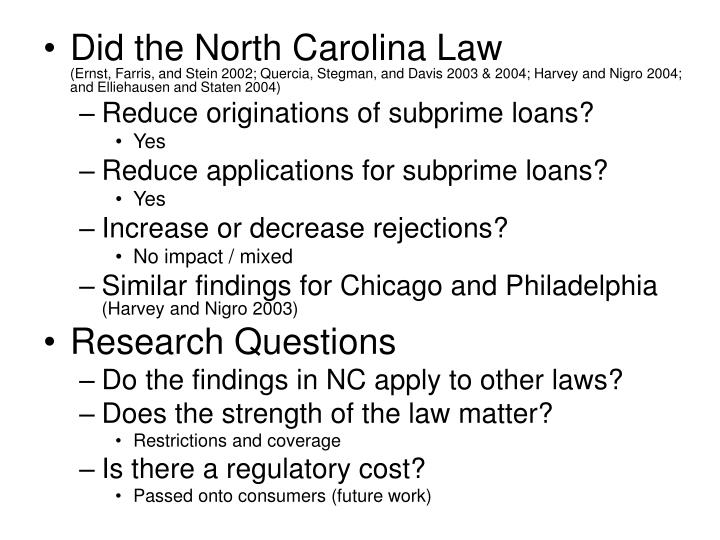 Did the North Carolina Law