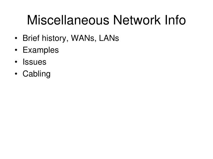 miscellaneous network info n.