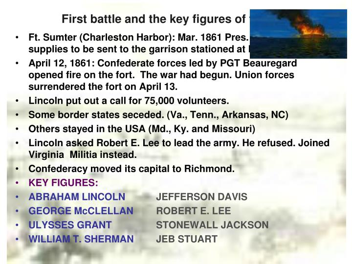 First battle and the key figures of the war