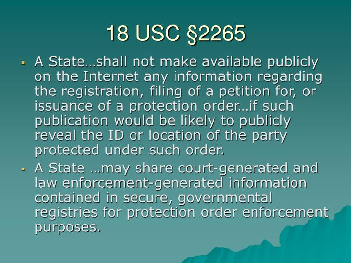 18 USC §2265