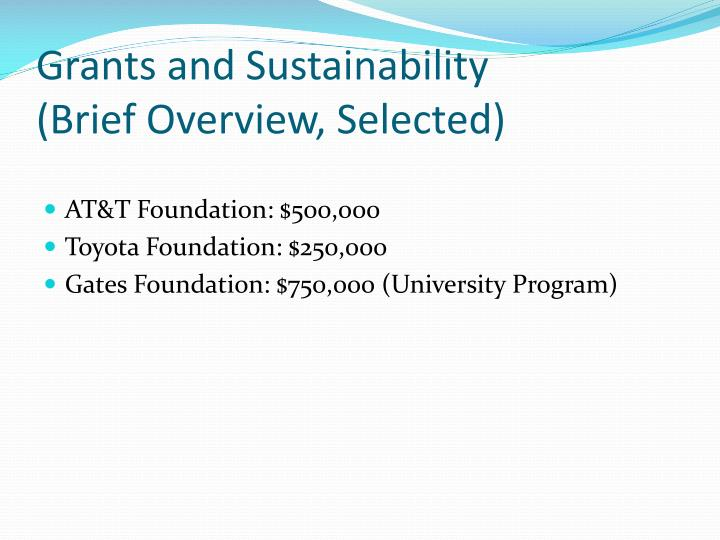 Grants and Sustainability