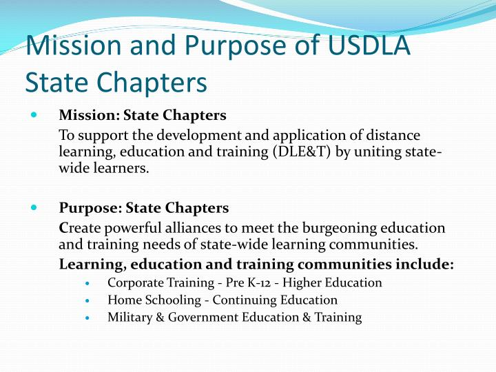 Mission and Purpose of USDLA State Chapters