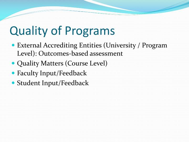 Quality of Programs