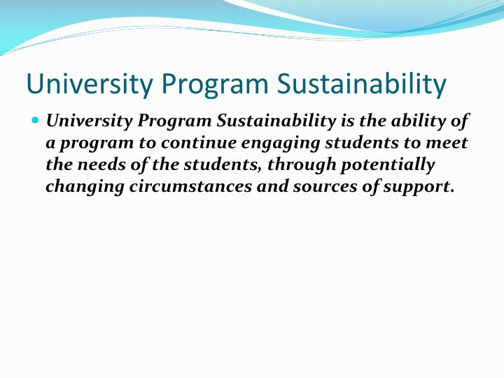 University Program Sustainability