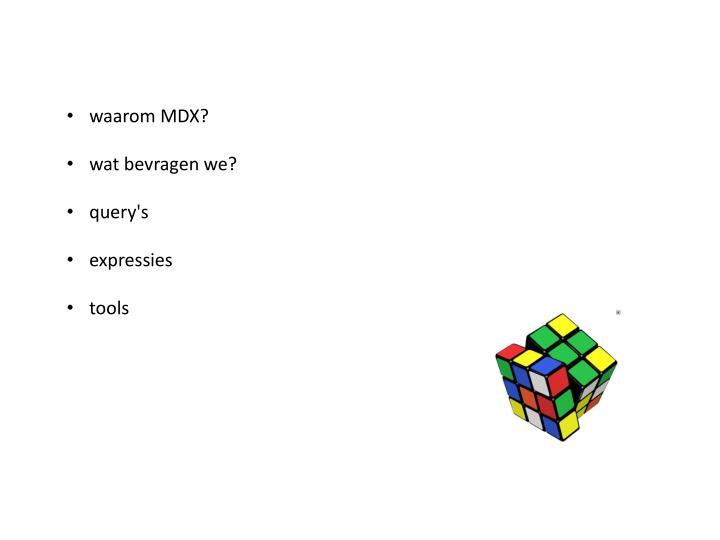 Waarom MDX?