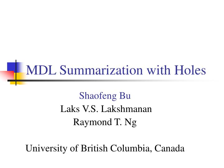 mdl summarization with holes
