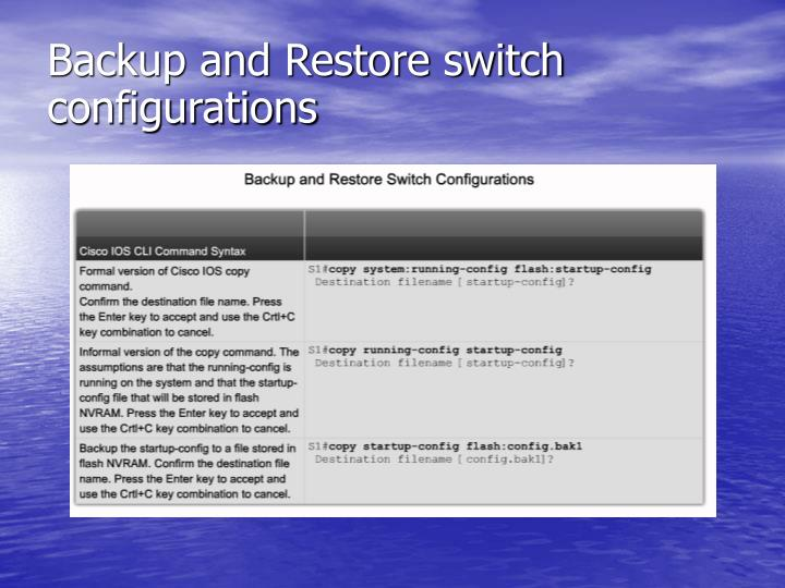 Backup and Restore switch configurations