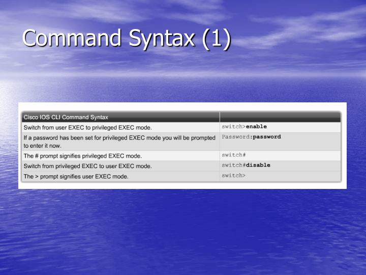 Command syntax 1