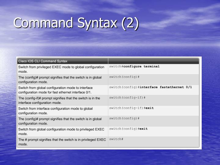 Command syntax 2