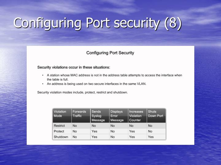 Configuring Port security (8)