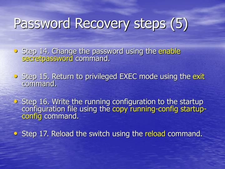 Password Recovery steps (5)