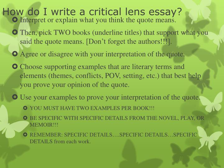 How do i write a critical lens essay