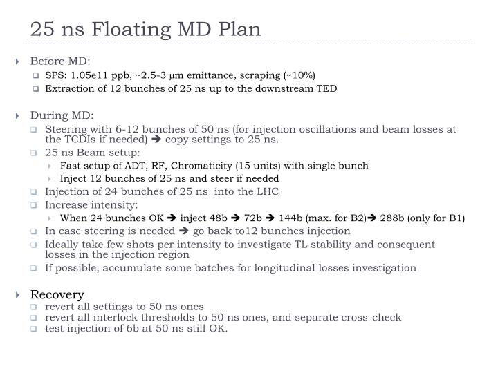 25 ns Floating MD Plan