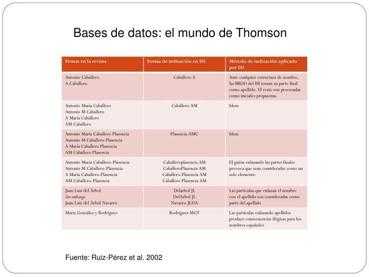 Bases de datos: el mundo de Thomson