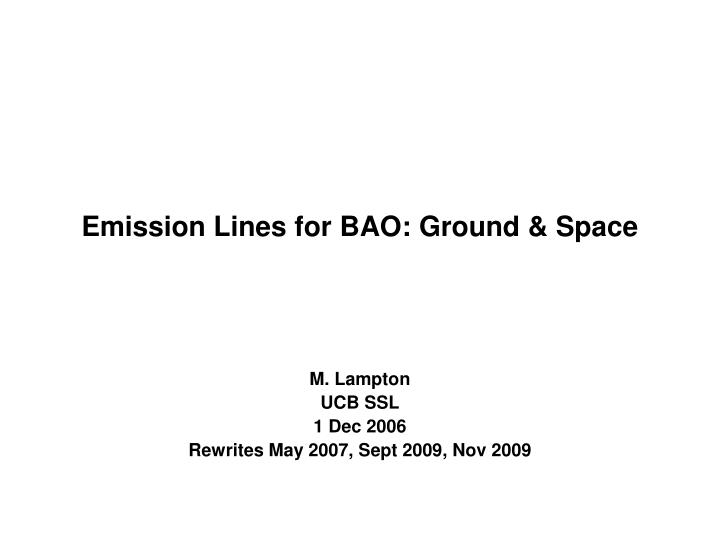 emission lines for bao ground space n.