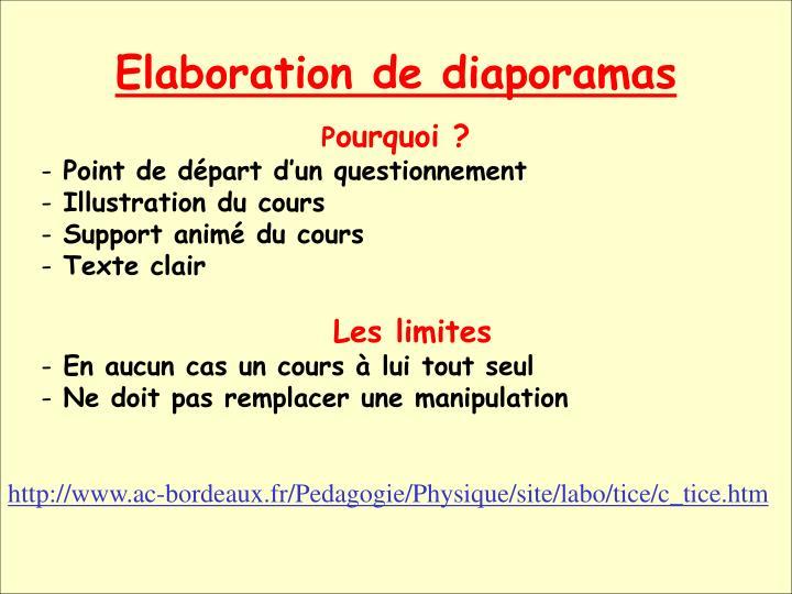 Elaboration de diaporamas