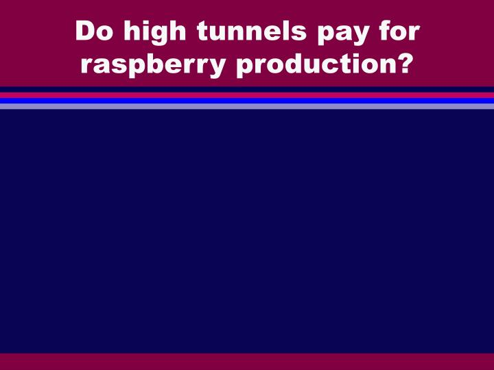 Do high tunnels pay for raspberry production?