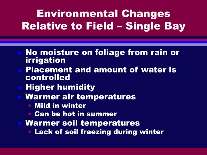 Environmental Changes Relative to Field – Single Bay