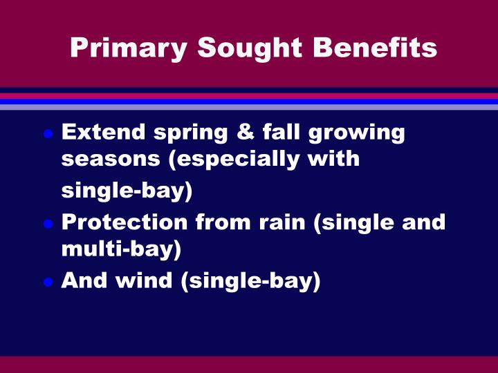 Primary Sought Benefits