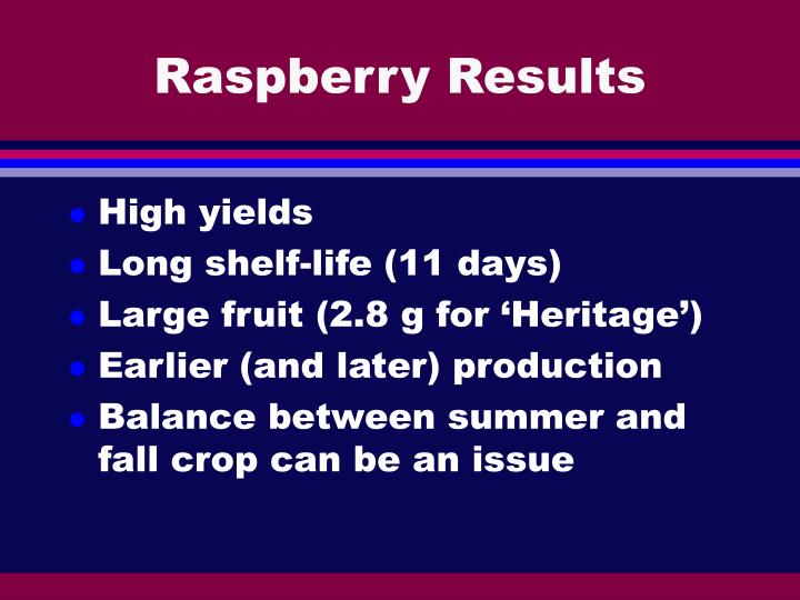 Raspberry Results