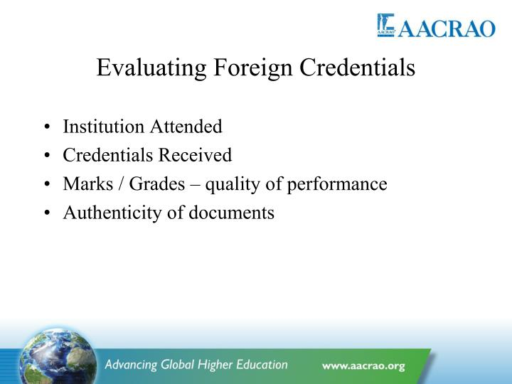 Evaluating Foreign Credentials