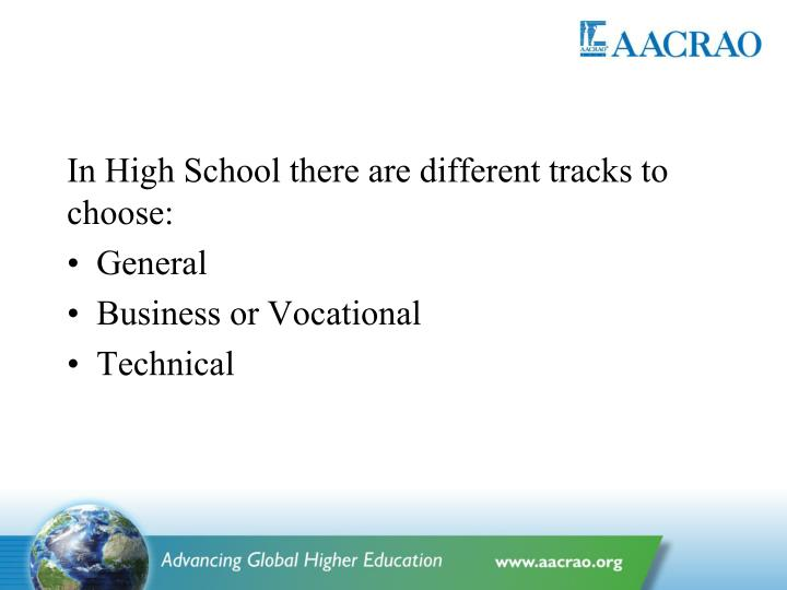 In High School there are different tracks to choose: