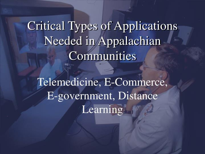 Critical Types of Applications Needed in Appalachian Communities