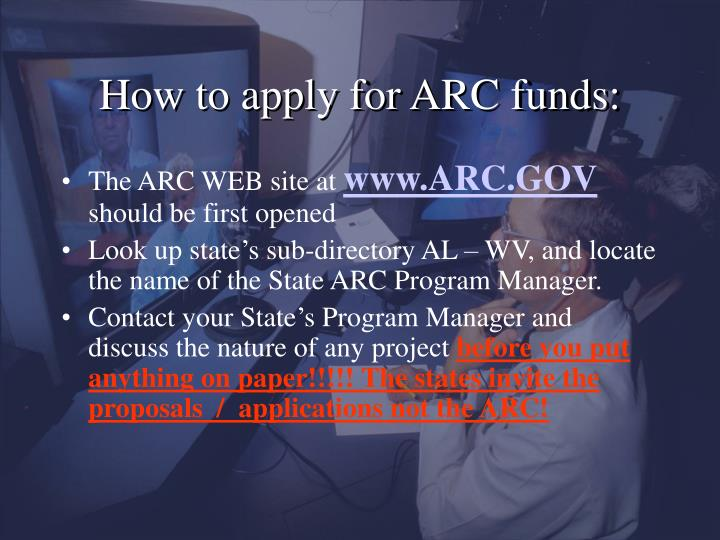 How to apply for ARC funds: