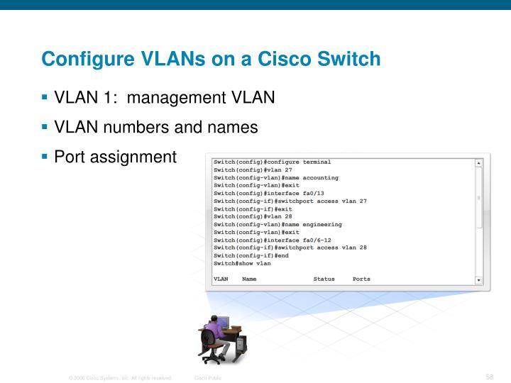 Configure VLANs on a Cisco Switch
