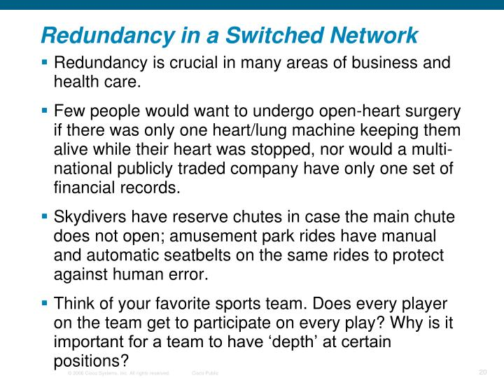 Redundancy in a Switched Network