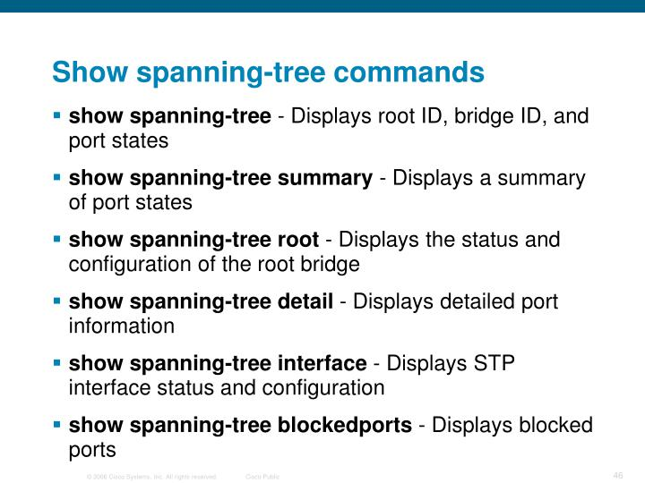 Show spanning-tree commands