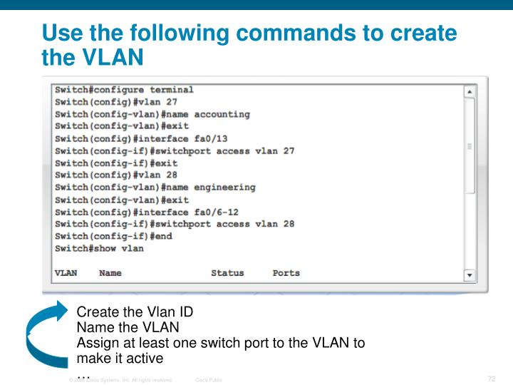 Use the following commands to create the VLAN