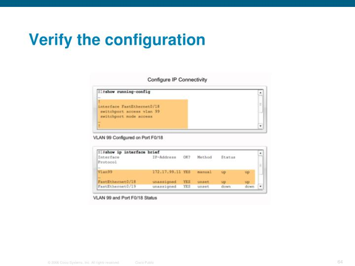 Verify the configuration
