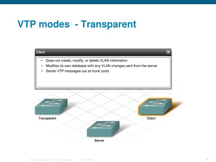VTP modes  - Transparent