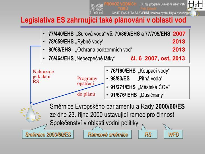 Legislativa ES zahrnující také plánování voblasti vod