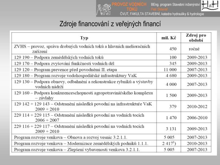 Zdroje financování z veřejných financí