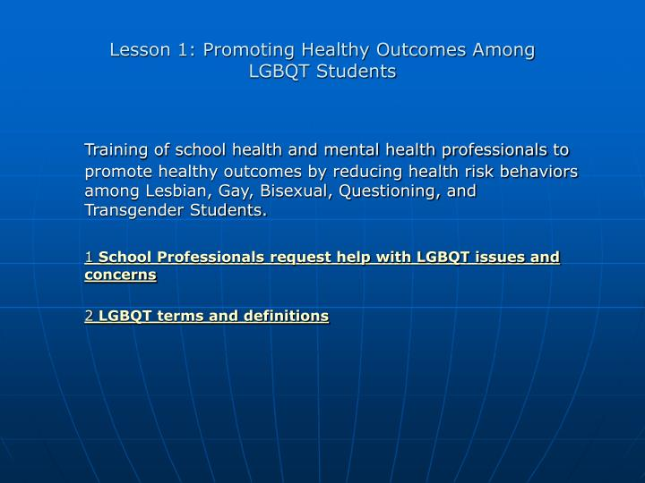 Lesson 1: Promoting Healthy Outcomes Among