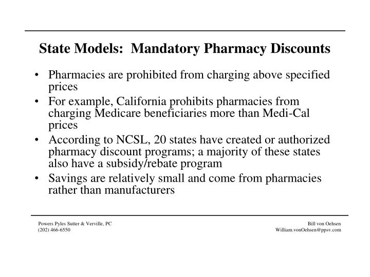 State Models:  Mandatory Pharmacy Discounts