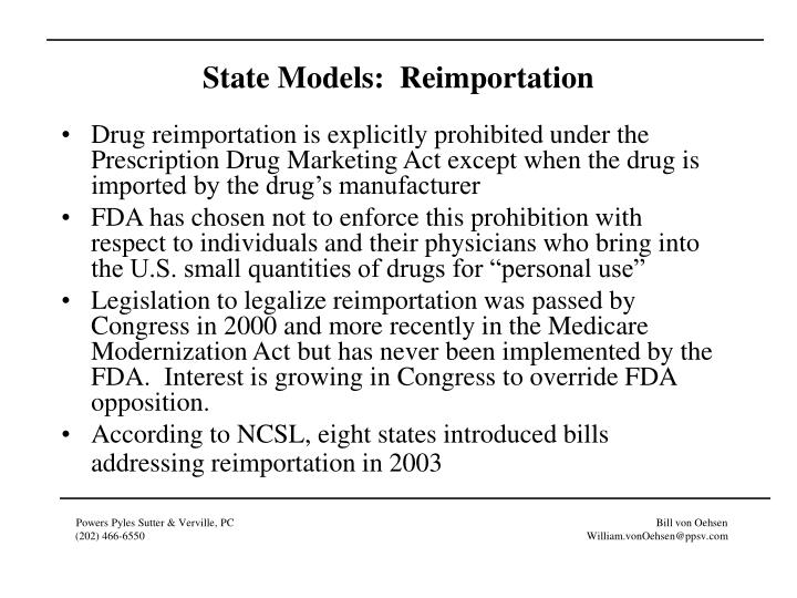 State Models:  Reimportation