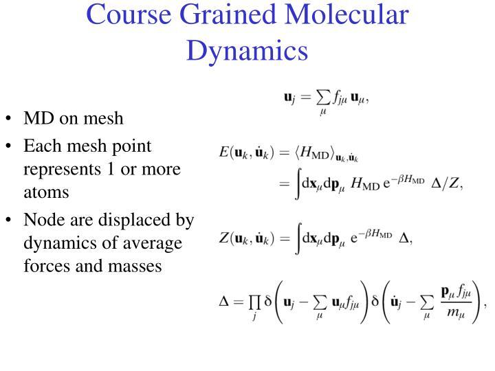 Course Grained Molecular Dynamics