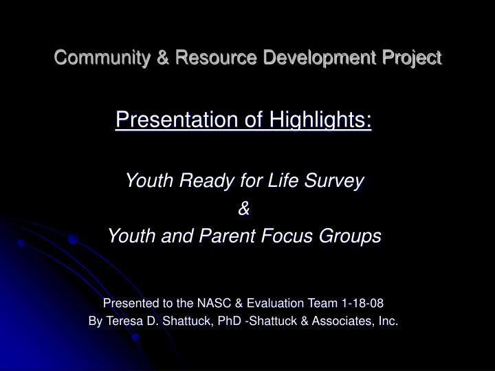 community resource development project n.