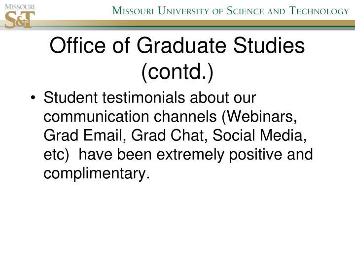 Office of Graduate Studies (contd.)