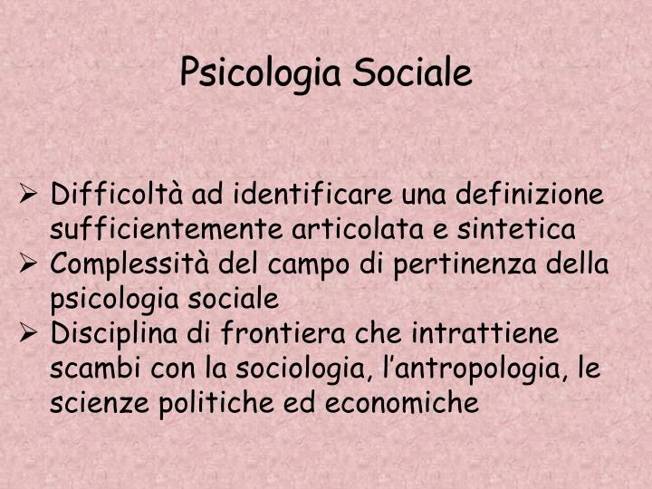 Psicologia Sociale