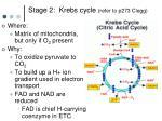 stage 2 krebs cycle refer to p273 clegg